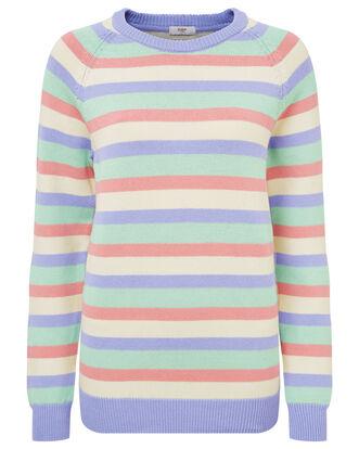 Women's Stripe Cotton Crew Neck Sweater