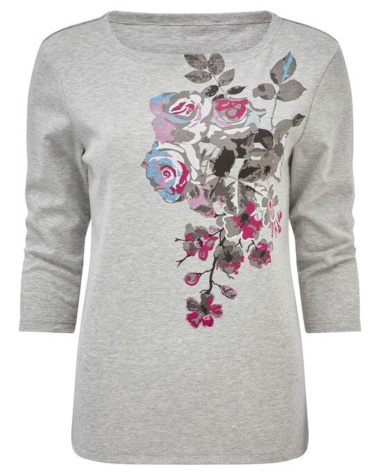 Print Floral Jersey Top