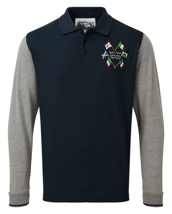 6 Nations Long Sleeve Embroidered Polo Shirt