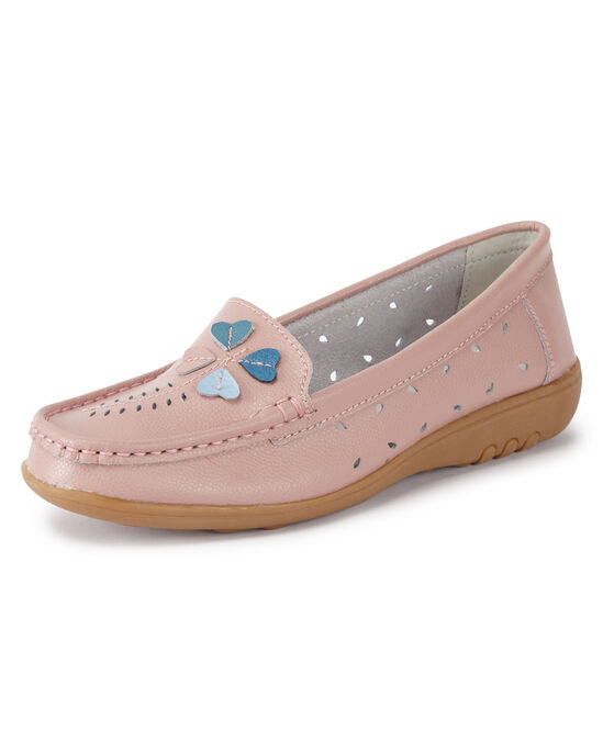 Leather Flexisole Heart Detail Loafers