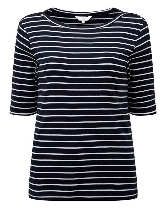 Wrinkle Free Half Sleeve Boat Neck Stripe Top