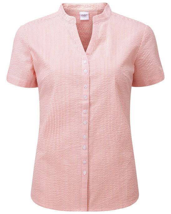 Short Sleeve Grandad Seersucker Blouse